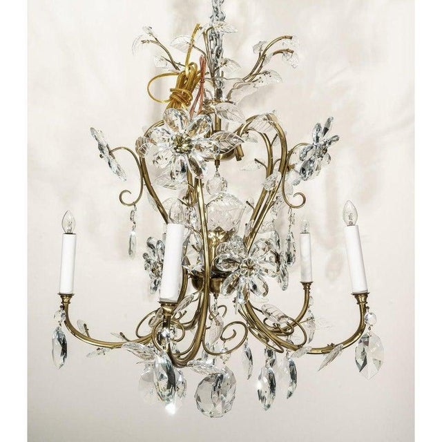 Louis XV Style Crystal and Brass Chandelier For Sale In West Palm - Image 6 of 11