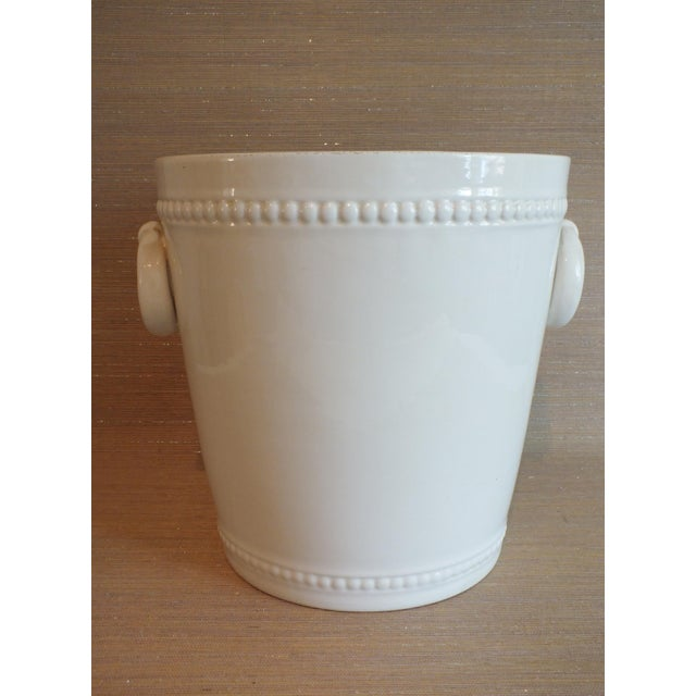 French Country Vintage Bassanello White Italian Planter Cache Pot For Sale - Image 3 of 7