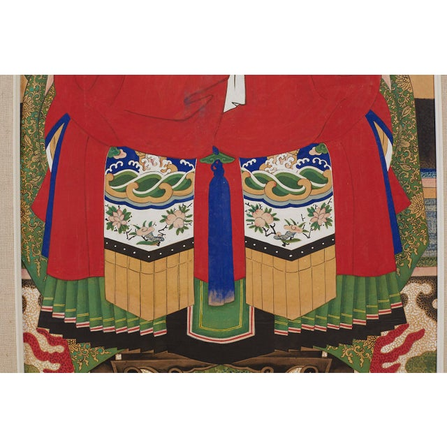 Pair of Chinese Patriarch Matriarch Ancestral Portraits For Sale - Image 10 of 13