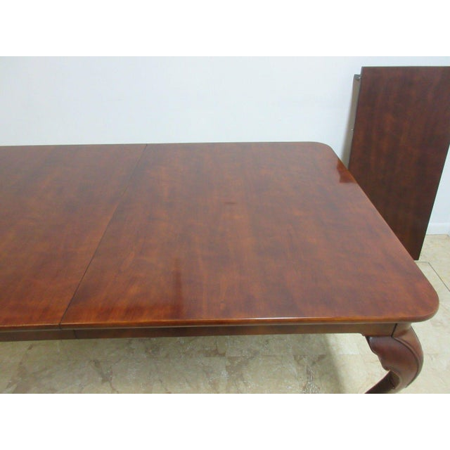 Cherry Wood Henredon Cherry Ball Claw Chippendale Banquet Dining Table For Sale - Image 7 of 11