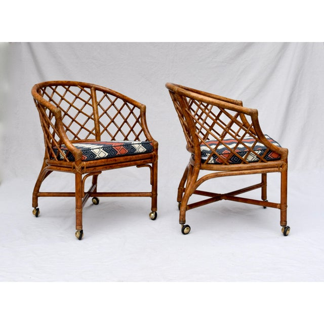 Chinoiserie Chinese Chippendale Rattan Barrel Chairs on Casters For Sale In Philadelphia - Image 6 of 13