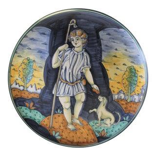 Vintage Saca Castelli Italian Hand Painted Ceramic Wall Plate For Sale