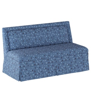 Skirted Settee in Blue Dot by Angela Chrusciaki Blehm for Chairish For Sale