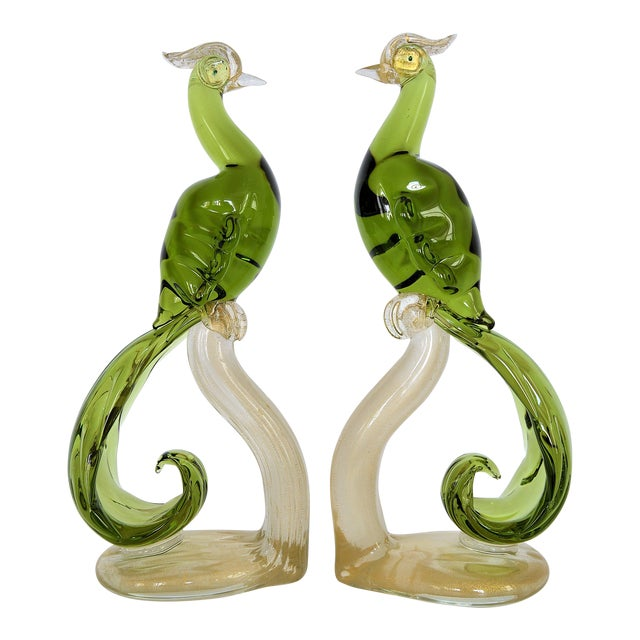 1950s Murano Glass Bird Figurines Sculptures- a Pair For Sale