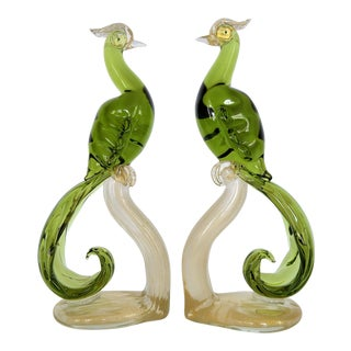 1950s Murano Glass Bird Figurines Sculptures- a Pair- Tropical Coastal Palm Beach Mid Century Modern Hollywood Regency Parrots Phoenix Tree For Sale