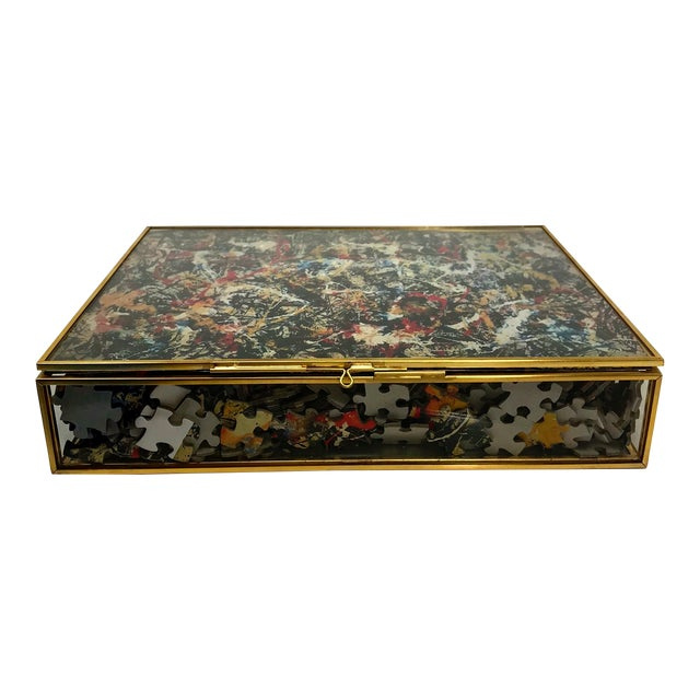 Vintage Jackson Pollock Puzzle in Glass & Brass Shadow Box For Sale