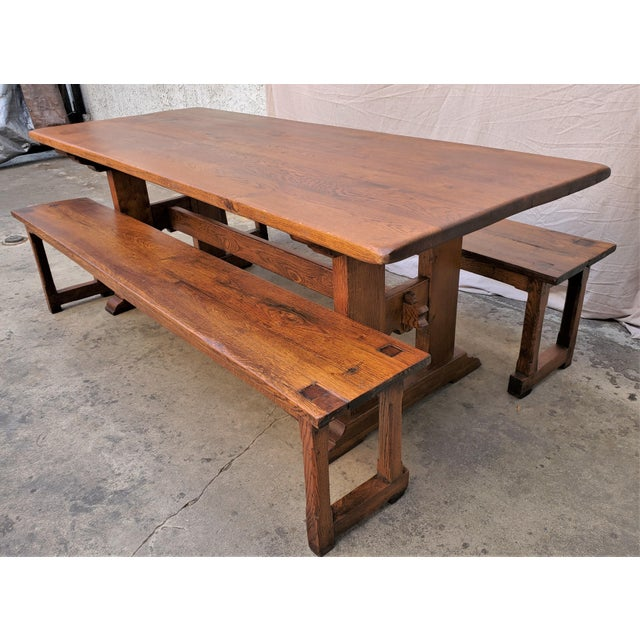 Antique Plank Solid Oak Refectory Dining Table With a Pair of Monastery Benches - 3 Pieces For Sale - Image 4 of 13