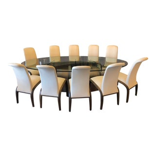 Pietro Costantini Dining Chairs & Custom Oval Glass Table Dining Set