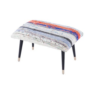 Pasargad Home Bosphorus Collection Blue Kilim Cover Ottoman For Sale