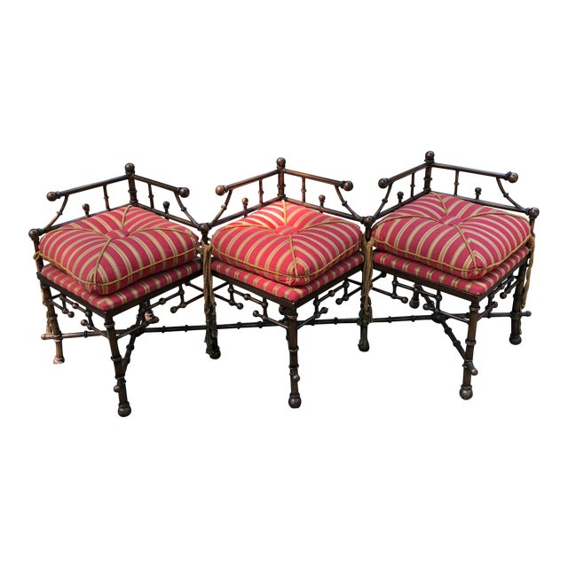 Bronzed Iron Faux Bamboo Bench For Sale