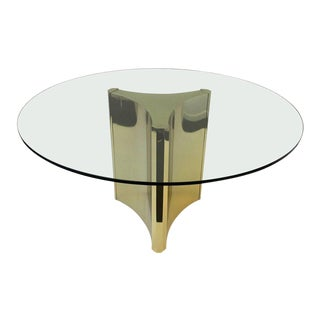 Polished Brass and Glass Dining Table by Mastercraft For Sale