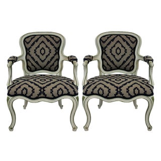 A Pair of Large Scale French Painted Fauteuils For Sale