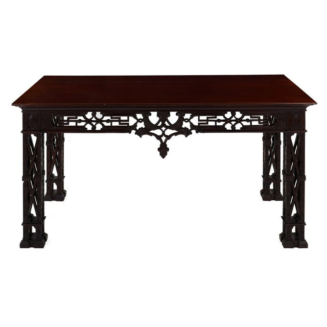 Carved Mahogany English Antique Library Console Table For Sale - Image 13 of 13