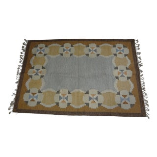"Swedish Flat Weave Rug - 6'4"" X 9'4"" For Sale"