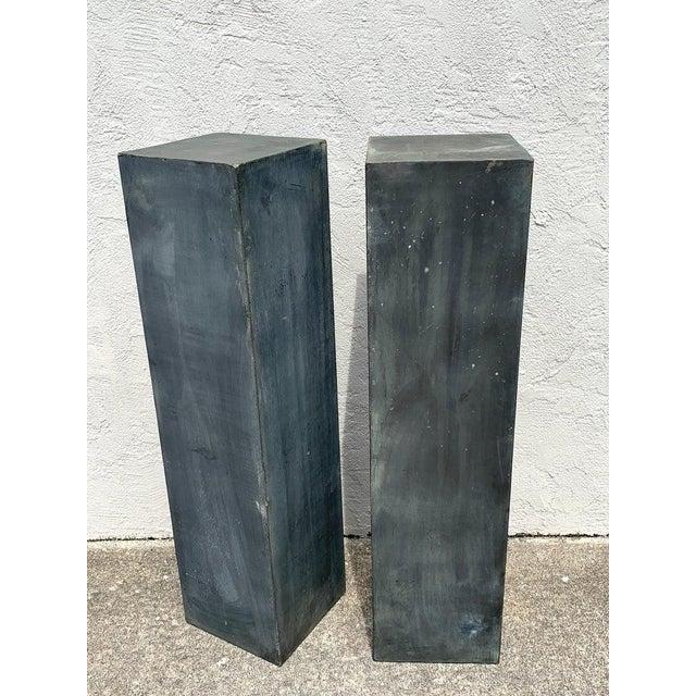 Industrial Pair of Industrial Verdigris Lead Columns For Sale - Image 3 of 9