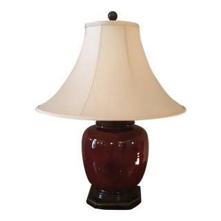 Vintage Oxblood Ginger Jar Shape Lamp With Shade For Sale
