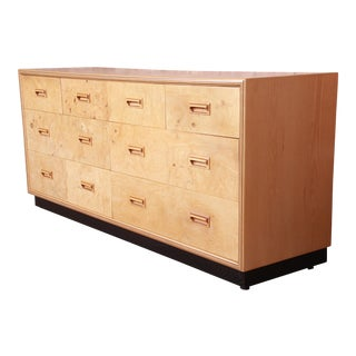 Milo Baughman Style Burl Wood Long Dresser or Credenza by Henredon, Newly Refinished For Sale