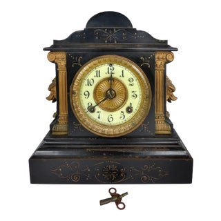 1882 Victorian Ansonia Clock Company Metal & Bronze Mantel Clock For Sale