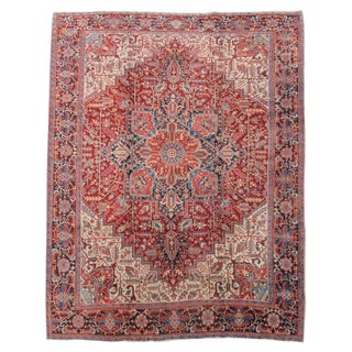 Red & Ivory Heriz Rug - 11′9″ × 14′1″ For Sale