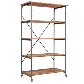 Vintage Theodore Scherf Oak and Iron Shelving Unit For Sale