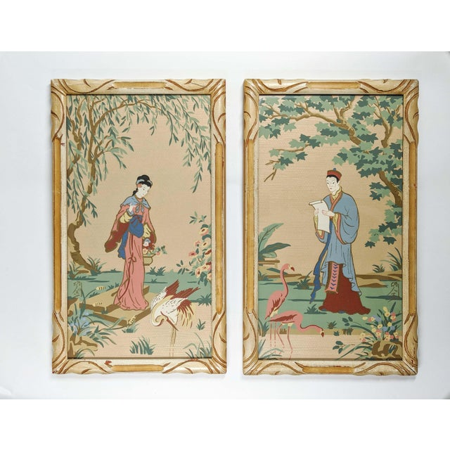 Pink Vintage Asian Silk Screen Hand Painted Prints With Gold. Pair of 2 For Sale - Image 8 of 8