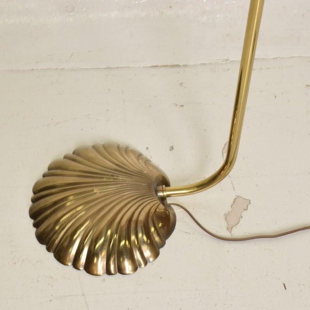 Mid Century Modern Pharmacy Reading Floor Lamp Brass Seashell Shape For Sale - Image 9 of 11