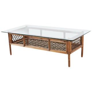 Brown Jordan Style Bamboo Rattan Coffee Cocktail Table For Sale