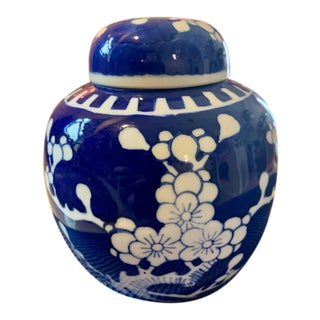 Vintage Lidded Cobalt Ginger Jar Painted With All Over White Plum Blossoms For Sale