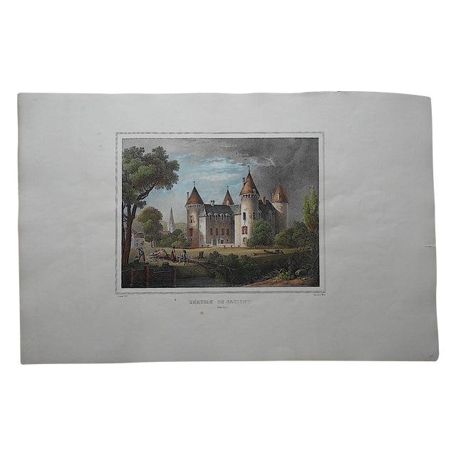 Antique Chateaux De France Lithograph For Sale