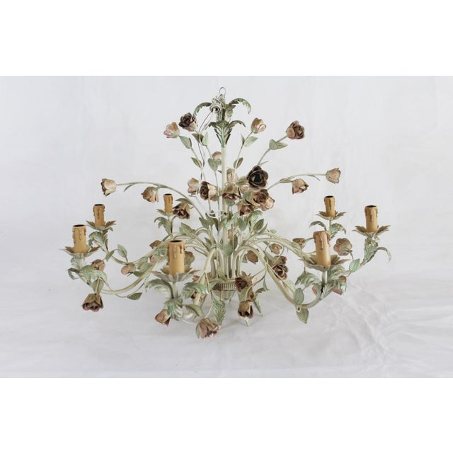 Green 1940s Italian Toleware Chandelier For Sale - Image 8 of 8