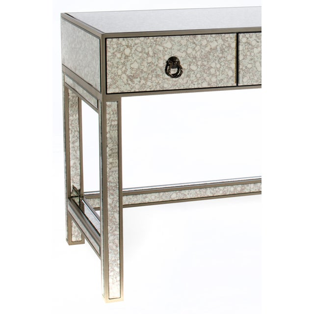 New antique mirrored desk with drawers Materials: Wood and glass (antique  mirror) Measurements - Talia Mirrored Desk Chairish
