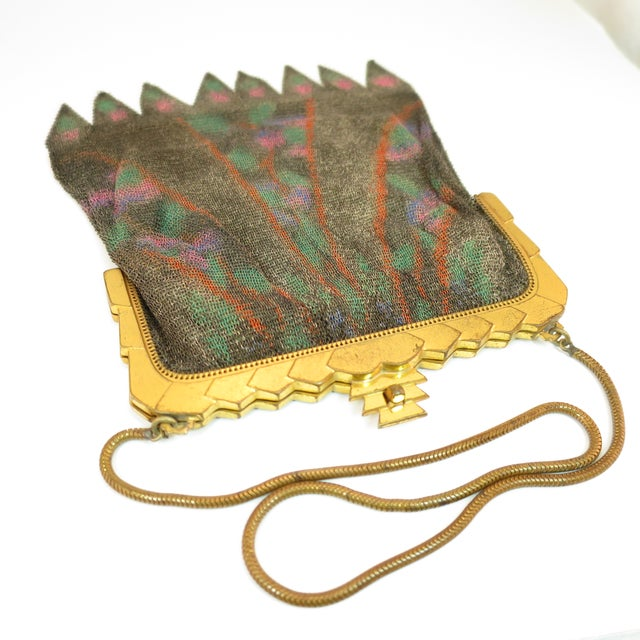 Whiting & Davis Deco Hand-Tinted Dresden Mesh Evening Purse 1920s For Sale - Image 10 of 13