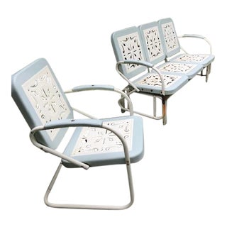 Early 20th Century Vintage Steel Garden Glider and Chair- 2 Pieces For Sale