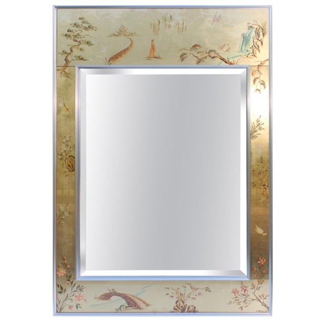 La Barge Mid-Century Modern Hand Painted Chinoiserie Mirror For Sale - Image 11 of 11