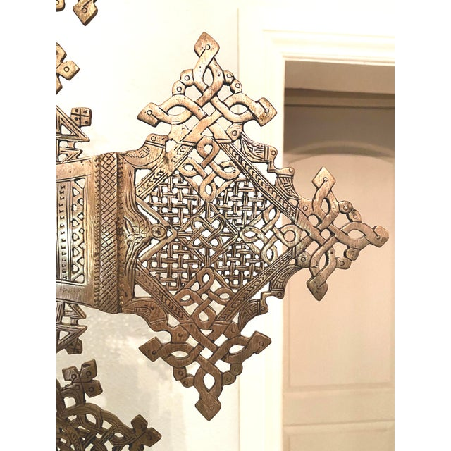 Mid 20th Century Large Ethiopian Coptic Processional Metal Cross on Black Metal Stand For Sale In Denver - Image 6 of 13