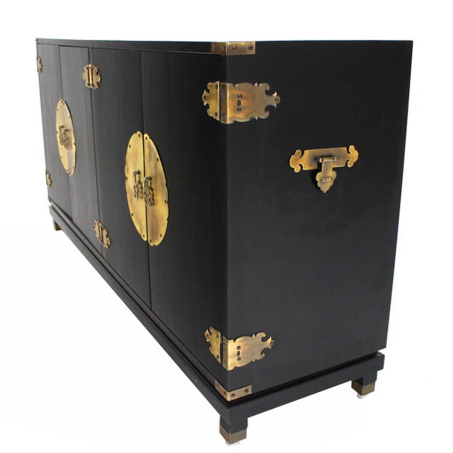 Mid-Century Modern Mid-Century Modern Black Lacquer Oriental Sideboard For Sale - Image 3 of 10