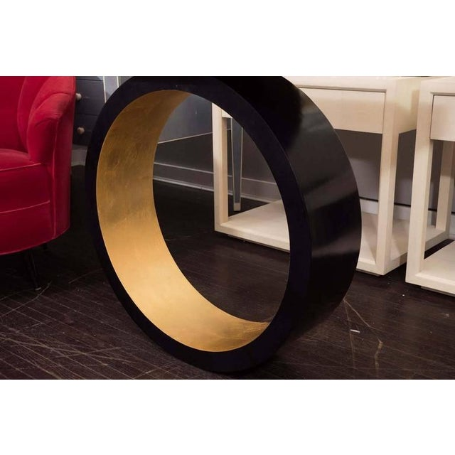 Venfield Custom Black Parchment Circle Console with Gold Leaf Interior For Sale - Image 4 of 6