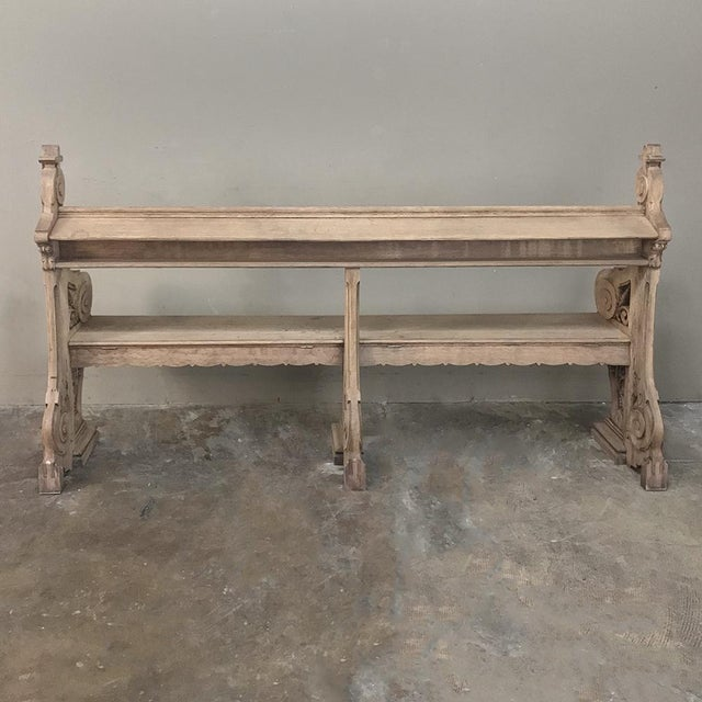 19th Century Gothic Stripped Oak Church Pew For Sale - Image 9 of 13