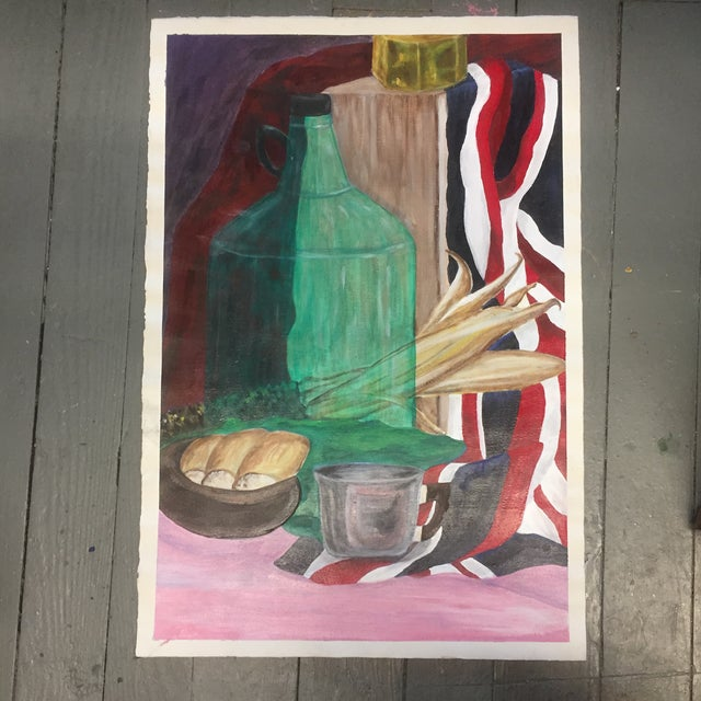 Paper Original Vintage Painting Student Study Still Life For Sale - Image 7 of 7