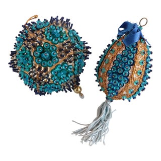 Vintage Beaded Christmas Ornaments - a Pair For Sale