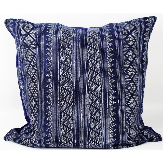 Hmong Zigzag Indigo Batik Handmade Pillow Cover - Image 2 of 6