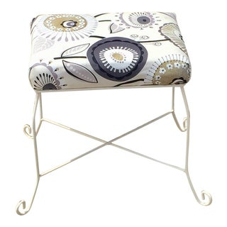 Vintage Floral Patterned Stool For Sale