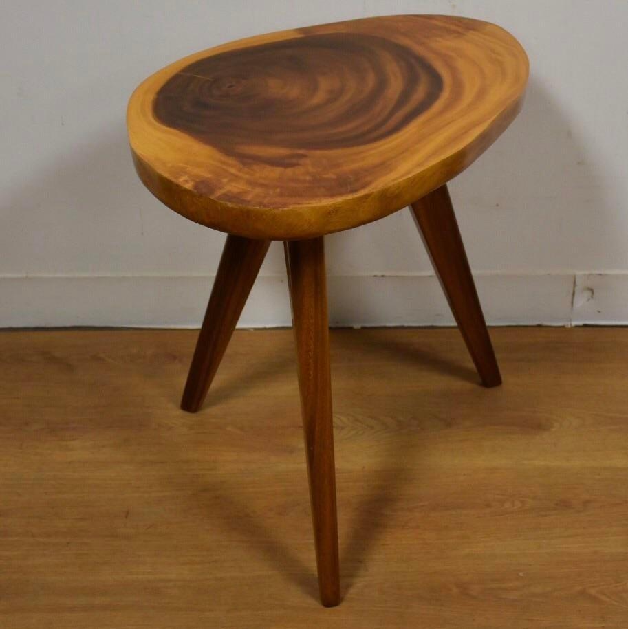 Delightful Vintage Monkey Pod End Table   Image 2 Of 7