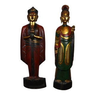 Vintage Indonesian Wooden Statues- a Pair For Sale