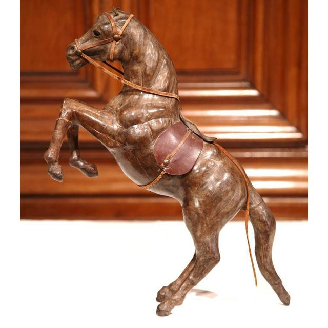French 19th Century French Carved & Patinated Leather Rearing Horse Sculpture For Sale - Image 3 of 7