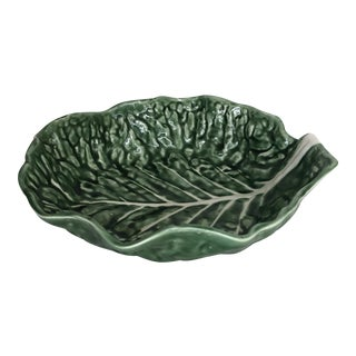 Vintage Secla Majolica Cabbage Leaf Serving Bowl For Sale
