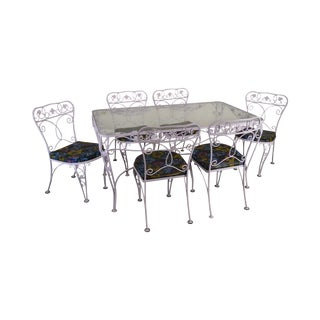 Woodard Vintage Lavender Painted Wrought Iron Patio Table & Chair Dining Set - 7 Pieces For Sale