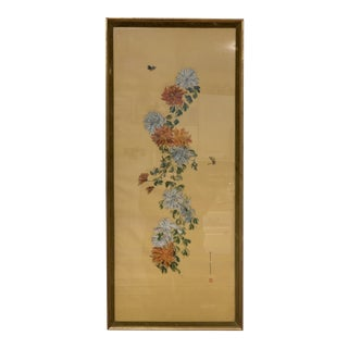 Mid-Century Modern Original Hand Painted Silk Screen Framed Signed Mary Carey For Sale