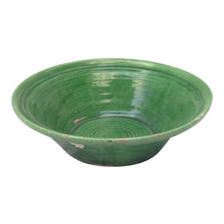 French Green Glazed Pottery Bowl