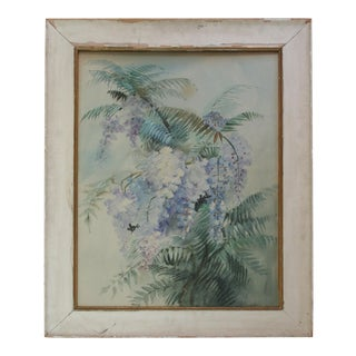 Large Original Vintage Watercolor Painting of Wisteria For Sale